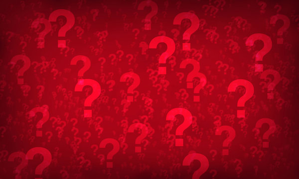 Red question mark random pattern background.