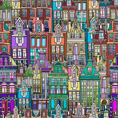 Vector seamless pattern with Dutch fictional vintage houses. Hand drawn.