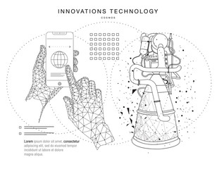 Future technologies in cosmos operations, automatics robot systems and innovations industry from awesome internet developments. Made in really geometry style with linear pictogram of future design