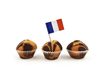French flag Toothpick stock images. French national flag on white background. National pastry images. Flag decorations for party. Muffins with flags
