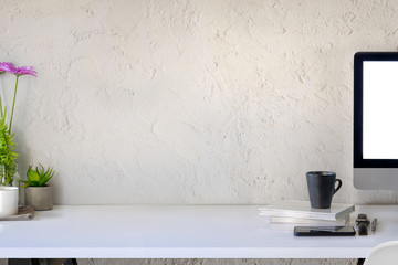 Workspace white wooden desk computer and copy space. Wall mural