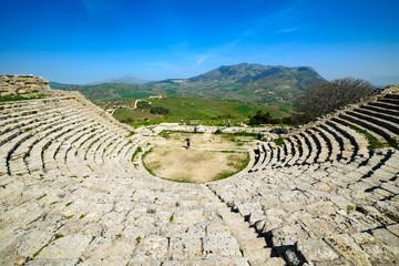 Antyczna teatr w Segesta, Sycylia, Włochy