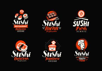 Sushi, rolls, Japanese food set of logos or labels. Vector illustration