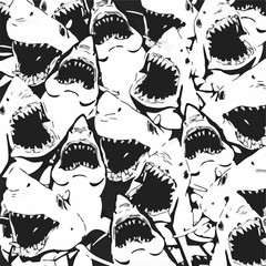 Angry Shark Collage. Hand Drawn Sea Life Pattern. - Royalty-free illustration Shark, Fish, Swimming, Animal, Design
