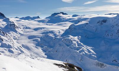 Findel Glacier in January 2018 from Rothorn above Zermatt in Switzerland