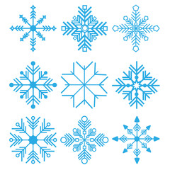 vector illustration. Set of Nine Snowflakes thin line ftat design
