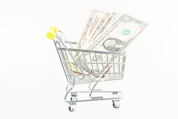 Miniature shopping cart with US banknotes close up