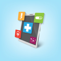 Smart mobile health design illustration. Track your health with devices. Medical Innovative Information Technology.
