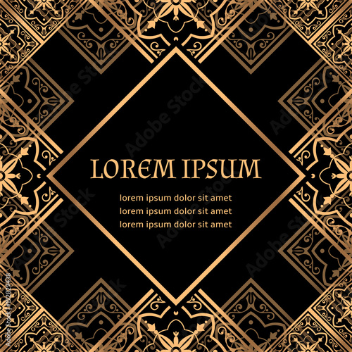luxury background vector golden royal pattern vintage art deco frame design for christmas and