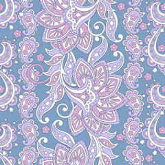 elegance seamless pattern with ethnic flowers and leaf, vector floral illustration in vintage style