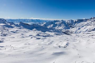 View from Furgghorn above Zermatt Switzerland towards Cervinia ski resort in Italy