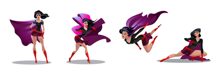 2961685 Comic superwoman actions in different poses. Female superhero vector cartoon characters. Illustration of superhero woman cartoon
