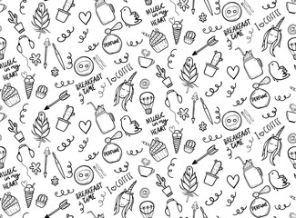 Seamless pattern with cute doodles - cactuses, unicorn, cup of coffee etc.