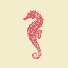 Icon seahorse in retro style
