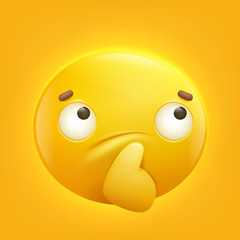 thoughtful yellow smiley emoji emoticon icon