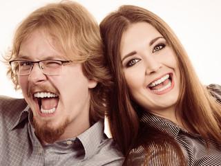 Woman and man freind having fun