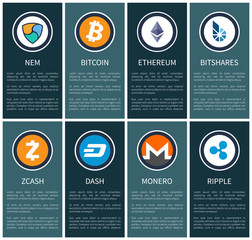 Cryptocurrency Symbols on Vertical Promo Posters