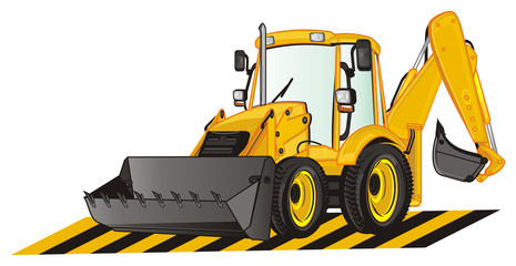 excavator, construction, bulldozer, tractor, building, illustration, dig, building site, ribbon
