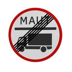 deutsches Verkehrszeichen: Mautpflicht für LKW beendet , in Vorderansicht, auf weiß isoliert. 3d render