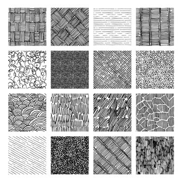 Seamless pattern of rough hatching grunge texture