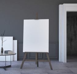 Mock Up Poster on Easel, in Gallery Interior. 3d Rendering