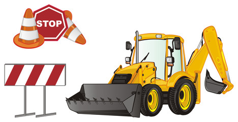 excavator, construction, bulldozer, tractor, building, illustration, dig, building site, many, road, signs, stop, cone