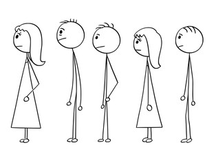 Cartoon stick man drawing conceptual illustration of group of people waiting in line or queue. Concept of stress and powerlessness.