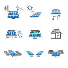 Solar cell icons. Power and Energy concept. Illustration vector collection set. Sign and Symbol theme.