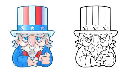 cartoon funny Uncle Sam, cute illustration