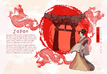 Asian culture. Traditional Japanese culture, red sun, dragons and geisha woman. Japan art. Geisha and dragon