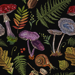 Embroidery mushrooms seamless pattern, berries, autumn leaves, seamless pattern. Nature embroidery template for clothes, textiles, t-shirt design