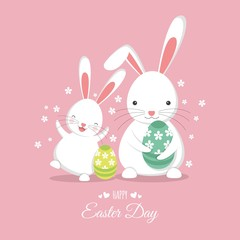 Easter bunny with easter eggs. flat design. White rabbit on a pink background. Happy Easter day!
