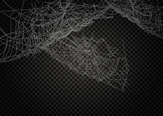 Collection of Cobweb, isolated on black, transparent background.