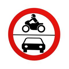 deutsches Verkehrszeichen (Verkehrsverbote): Verbot für Krafträder und Kraftwagen, in Vorderansicht, auf weiß isoliert. 3d render