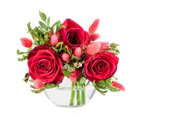 miniature gorgeous bouquet of roses on white background