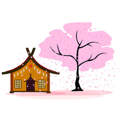 Japanese house next to blooming cherry blossoms, late flowers fall, background, vector