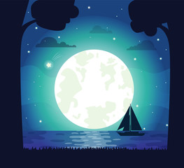 Moon and Stars Silhouette Vector Illustration