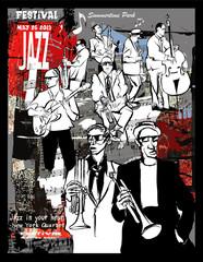Printed roller blinds Art Studio Jazz poster, musicians on a grunge background