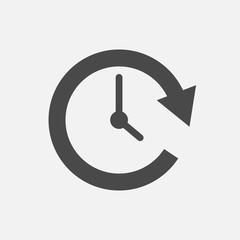 rotating time arrow with tick clock vector icon