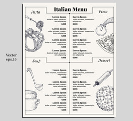 Italian food menu of different pasta, pizza, soup and dessert. Design template for gourmet retaurant. Italian menu restaurant pasta, pizza, soup and dessetrt. Vector hand drawn vintage illustration