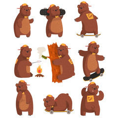 Funny teen bear in various situations. Cartoon forest animal character. Brown grizzly in orange cap and bow tie. Flat vector design for sticker or postcard
