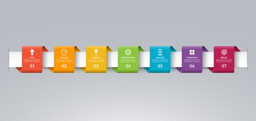 Infographic timeline template in the form of colored paper tapes. Vector banner with 7 options, steps, parts. Can be used for for web, workflow layout, time line, diagram, chart, graph