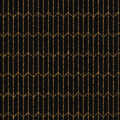 Asian motif. Seamless pattern based on japanese sashiko. Scratched golden ornament on the black background. Abstract backdrop. Simple texture for web-page background, decoration or pattern fills.