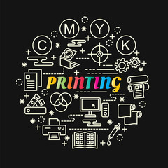printing colorful gradient with line icons set
