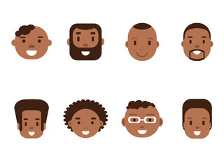 Set of African American male avatars, flat style