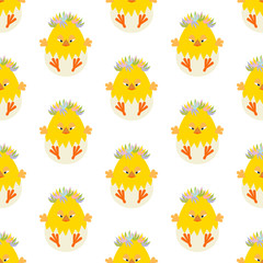 Easter chicken seamless pattern