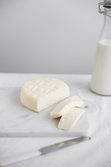 Home made Cheese: Feta Cheese  on White Background