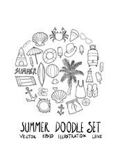 Summer doodle illustration circle form wallpaper background line sketch style set eps10