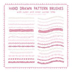 Hand drawn decorative paintbrushes set
