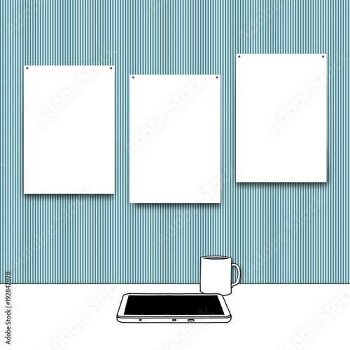 Sketch Drawing Of Tablet And Mug With Three Blank Frames On Aqua